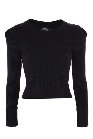 "Knitted Navy Rib Puff Sleeve Jumper<a href=""http://shopstyle.it/l/e8HX"" target=""_blank"">"