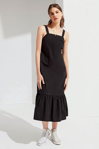 Urban Outfitters black ruffle hem dress front view 1