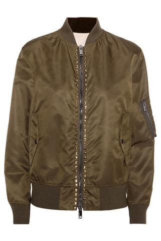 Valentino - Rockstud untitled army brown bomber jacket