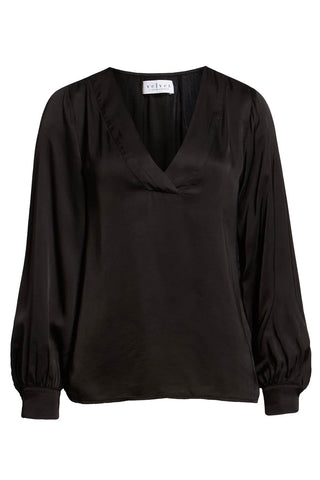 Velvet by Graham Spencer - V-neck satin shirt blouse