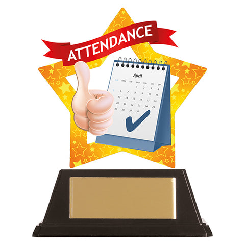 Personalised Engraved Mini-Star Attendance Trophy Free Engraving