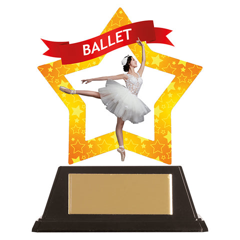 Personalised Engraved Mini-Star Ballet Dancing Trophy Free Engraving
