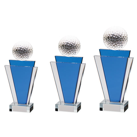 Personalised Engraved Gauntlet Tower Crystal Golf Award Trophy 3 Sizes Available Free Engraving