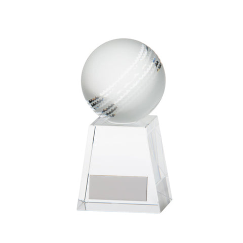 Personalised Engraved Cricket Voyager Glass Trophy Free Engraving