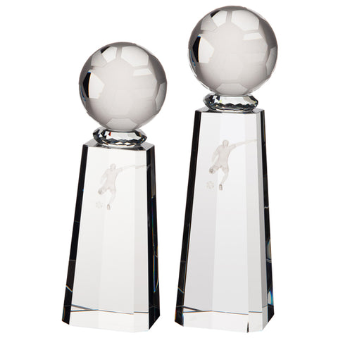 Personalised Engraved Synergy Football Crystal Award Trophy 2 Sizes Available Free Engraving