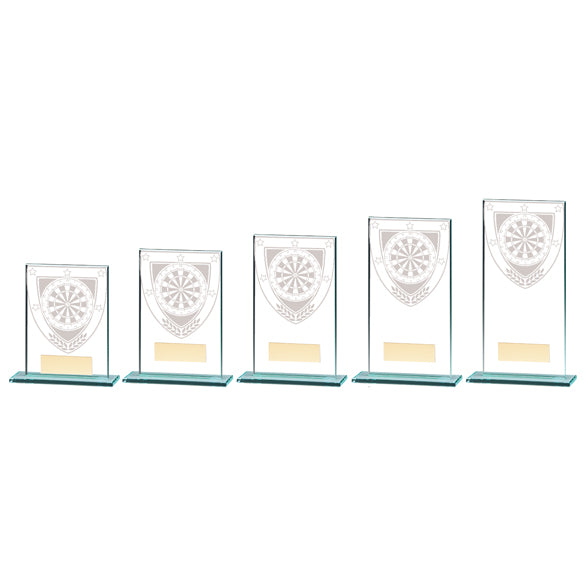 Personalised Engraved Darts Millennium Glass Trophy 5 Sizes Available Free Engraving