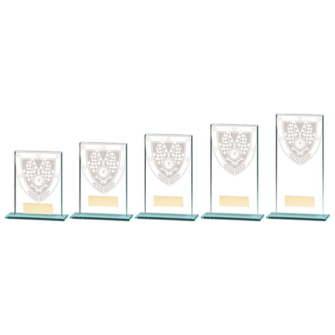 Personalised Engraved Millennium Motorsport Glass Award Trophy 5 Sizes Available Free Engraving