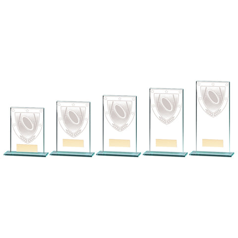 Personalised Engraved Millennium Rugby Glass Award Trophy 5 Sizes Available Free Engraving