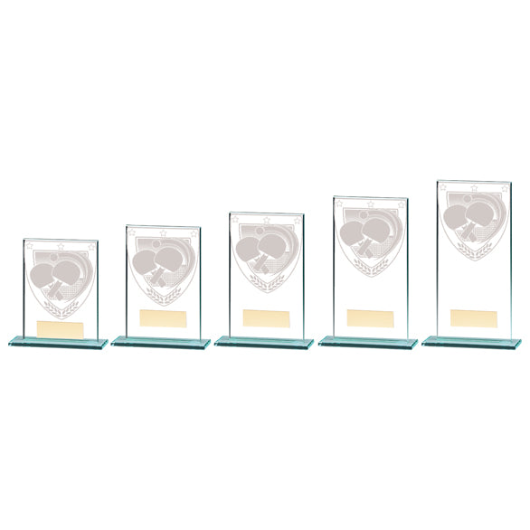 Personalised Engraved Millennium Table Tennis Glass Award Trophy 5 Sizes Available Free Engraving