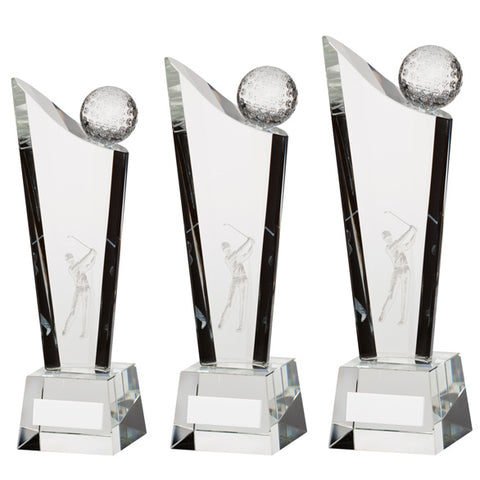 Personalised Engraved Capture Crystal Golf Award Trophy 3 Sizes Available Free Engraving