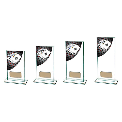 Personalised Engraved Poker Colour Curve Glass Trophy 5 Sizes Available Free Engraving