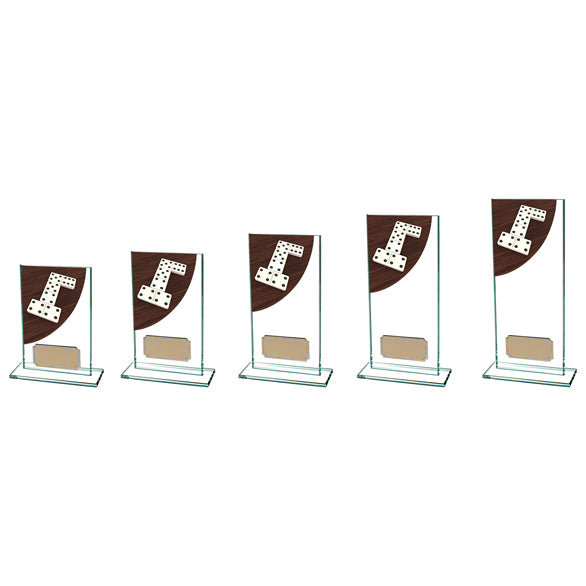 Personalised Engraved Dominoes Colour Curve Glass Trophy 5 Sizes Available Free Engraving