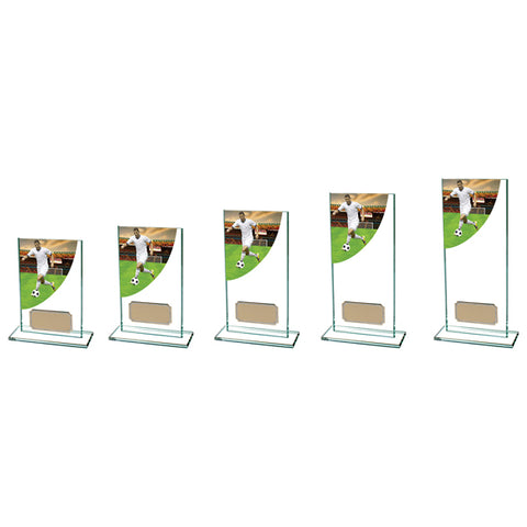 Personalised Engraved Football Player Colour Curve Glass Trophy 5 Sizes Available Free Engraving