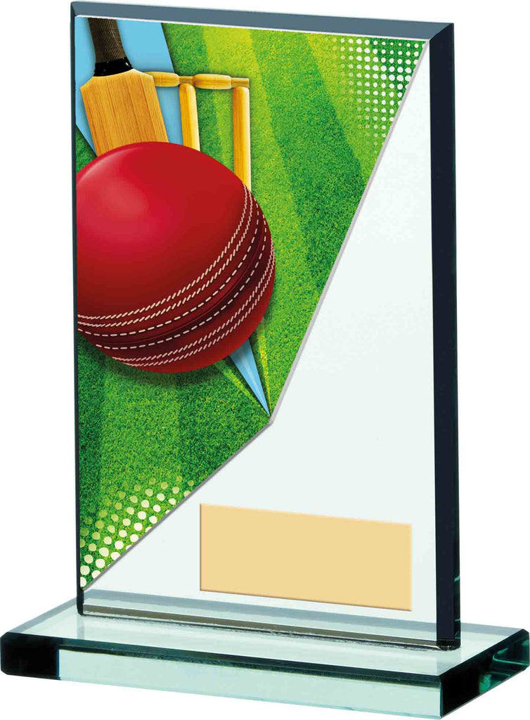 Personalised Engraved Cricket Glass Trophy 2 Sizes Available Free Engraving
