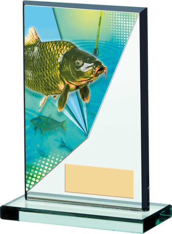 Personalised Engraved Fishing Glass Trophy 2 Sizes Available Free Engraving