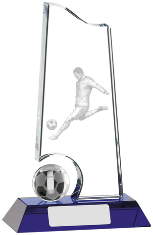 Personalised Engraved Glass Football Trophy 3 Sizes Available Free Engraving