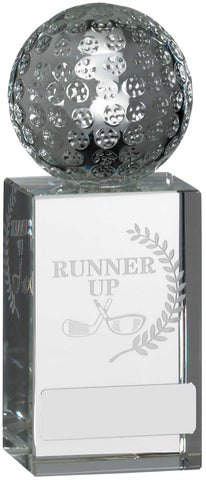 Personalised Engraved Crystal Runner Up Golf Trophy Free Engraving