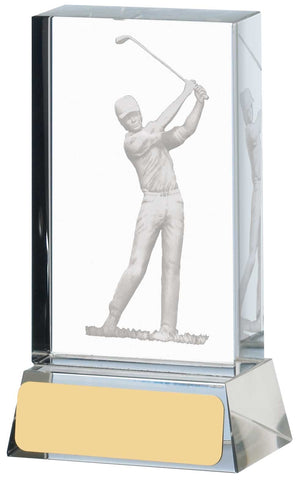 Personalised Engraved Crystal Golf Trophy 3 Sizes Available Free Engraving