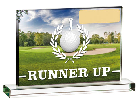 Personalised Engraved Glass Runner Up Golf Trophy Free Engraving