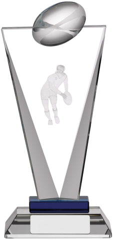 Personalised Engraved Glass Rugby Trophy 3 Sizes Available Free Engraving