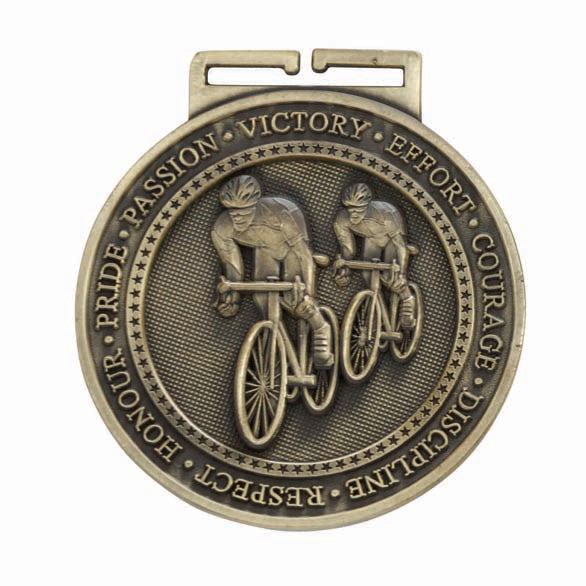 Personalised Engraved Olympia Cycling Medal & Ribbon 60mm Available In 3 Finishes Free Engraving