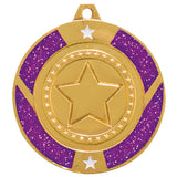 Personalised Engraved Purple Glitter Star Dance Medal 50mm Available In 3 Finishes Free Engraving