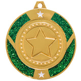 Personalised Engraved Green Glitter Star Dance Medal 50mm Available In 3 Finishes Free Engraving