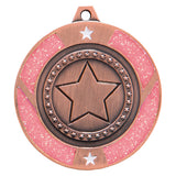 Personalised Engraved Pink Glitter Star Dance Medal 50mm Available In 3 Finishes Free Engraving