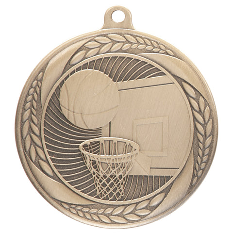 Personalised Engraved Typhoon Basketball Medal 55mm Available In 3 Finishes Free Engraving
