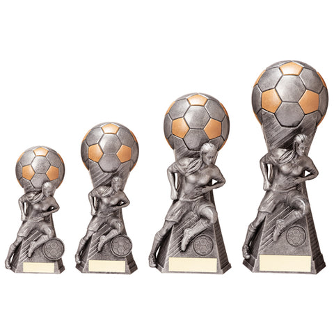Personalised Engraved Trailblazer Female Football Trophy 4 Sizes Available Free Engraving