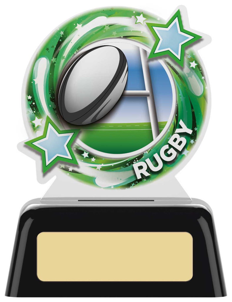 Personalised Engraved Acrylic Rugby Trophy 2 Sizes Available Free Engraving