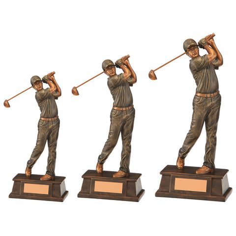 Personalised Engraved Classical Male Golf Figure Trophy 3 Sizes Available Free Engraving