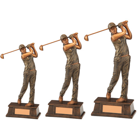 Personalised Engraved Classical Female Golf Figure Trophy 3 Sizes Available Free Engraving
