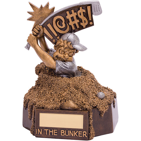 Personalised Engraved Bunker Blues Golf Humorous Award Trophy Free Engraving