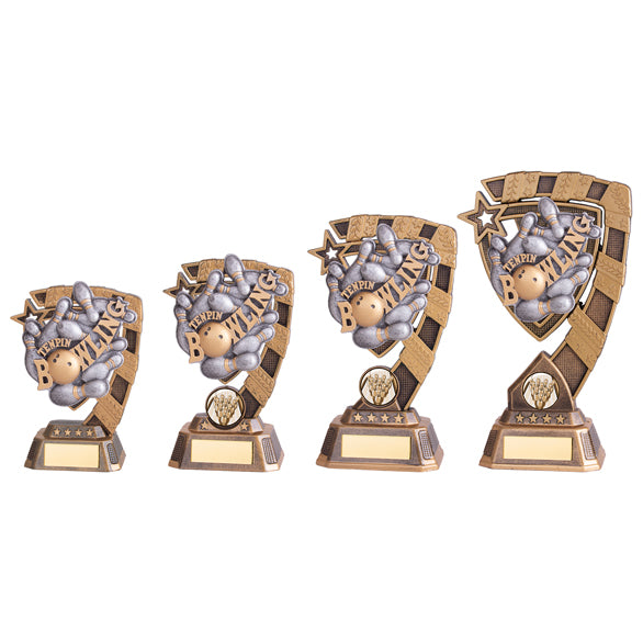 Personalised Engraved Euphoria Ten Pin Bowling Trophy 4 Sizes Available Free Engraving