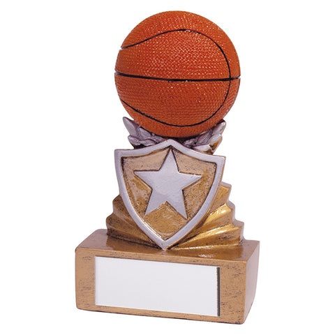 Personalised Engraved Shield Basketball Trophy Free Engraving