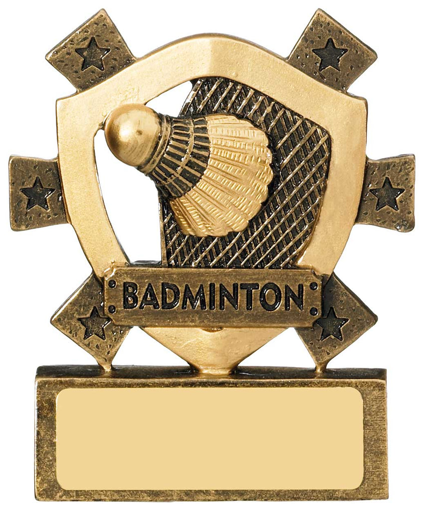 Personalised Engraved Resin Mini Star Badminton Trophy Free Engraving