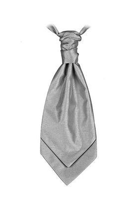 Silver Gray  Poly Dupion Cravat - Her Tuxedo