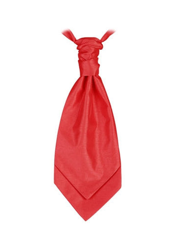 Deep Scarlet Red  Poly Dupion Cravat - Her Tuxedo