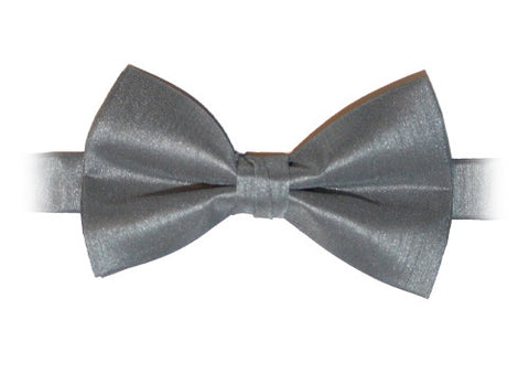 Silver Gray Poly Dupion Bow Tie - Her Tuxedo