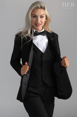 Classic Black Short Peak Lapel Tuxedo Suit (Pants With Tuxedo Stripe)(Two Piece) (Slim Fit) - Her Tuxedo