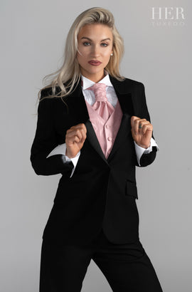 End Of Line-Limited Sizes- Classic Black Short Peak Lapel Tuxedo Suit ( No Tuxedo Stripe On Pants)(Two Piece) (Slim Fit) - Her Tuxedo