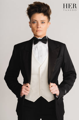 End Of Line Classic Black Wide Peak Lapel Tuxedo Suit (Two Piece) - Her Tuxedo
