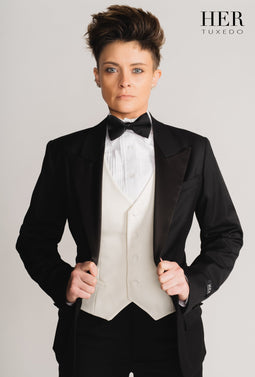 Classic Black Wide Peak Lapel Tuxedo Suit ( Pants with Tuxedo Stripe) (Two Piece)