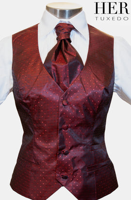 Crimson Red Polka Dot Waistcoat ( Matches Special Edition lining)(Slim Fit) - Her Tuxedo