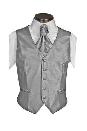 Silver Gray Poly Dupion Waistcoat ( Loose Fit) - Her Tuxedo