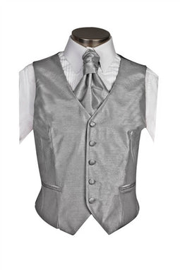 Silver Gray Poly Dupion Waistcoat ( Loose Fit)