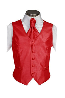 Scarlet Red Poly Dupion Waistcoat  ( Loose Fit)
