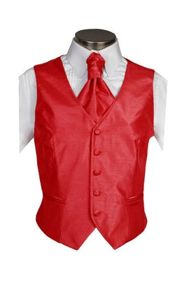 Scarlet Red Poly Dupion Waistcoat  ( Loose Fit) - Her Tuxedo