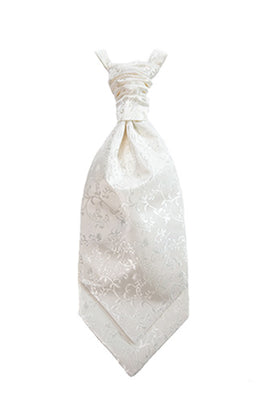 Pearl Ivory Damask Poly Dupion Cravat With An Elegant Floral  Vine Pattern ( Not White)
